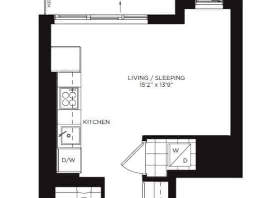 A near perfect studio floor plan in One Park Place