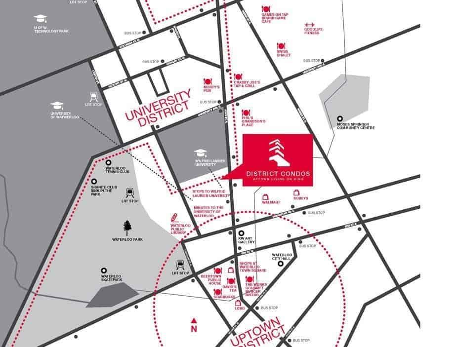 District Condos Waterloo Map True Condos