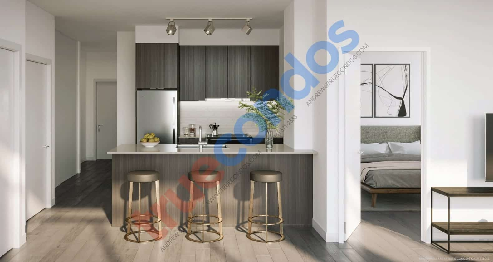 Avia Condos Kitchen Interior Rendering True Condos