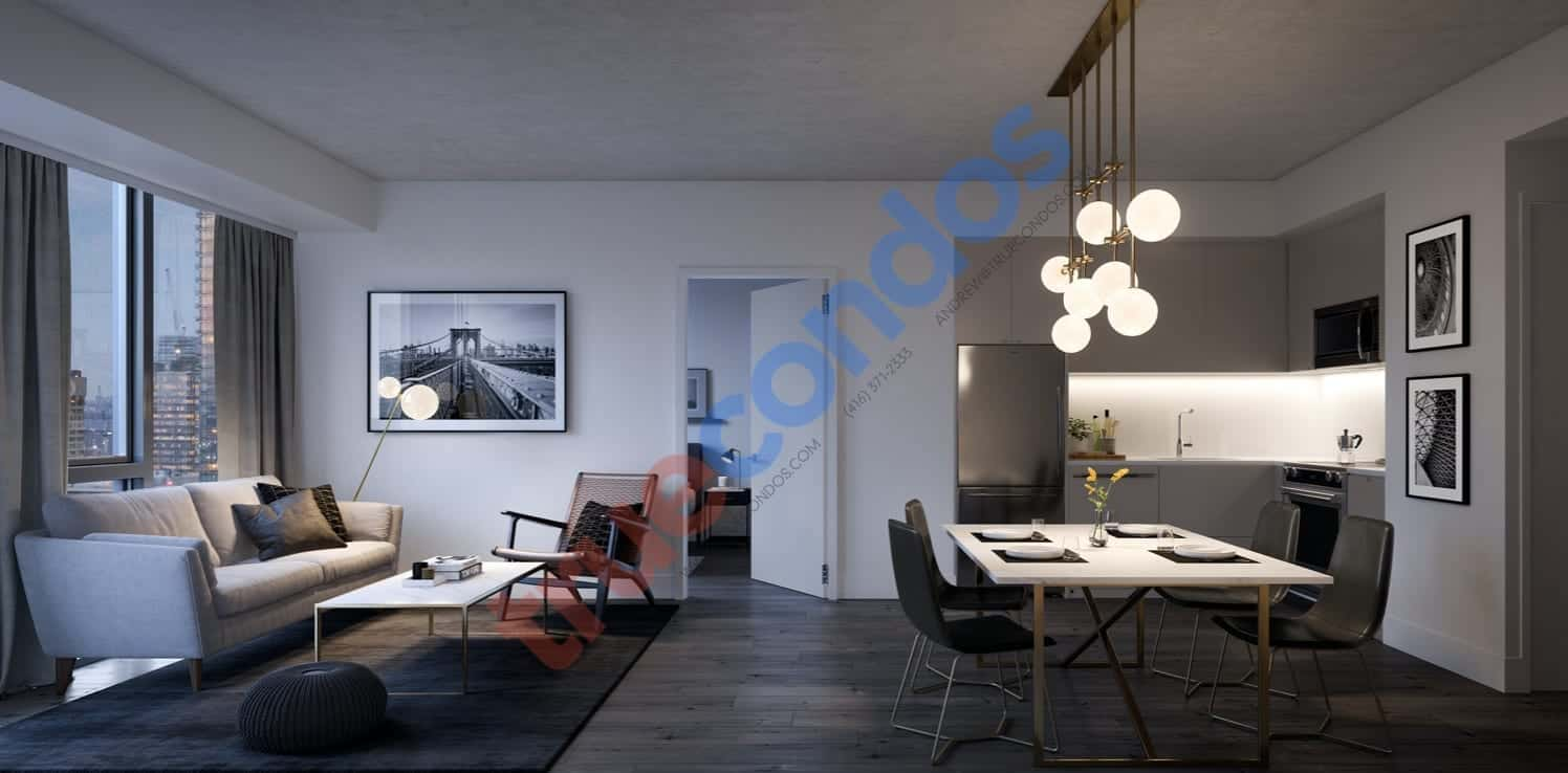 357 King West Condos Living Dining Interior Rendering True Condos